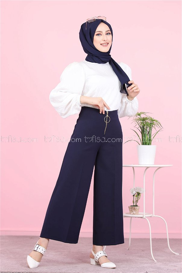 Front Zippered Pants Navy Blue - 8500