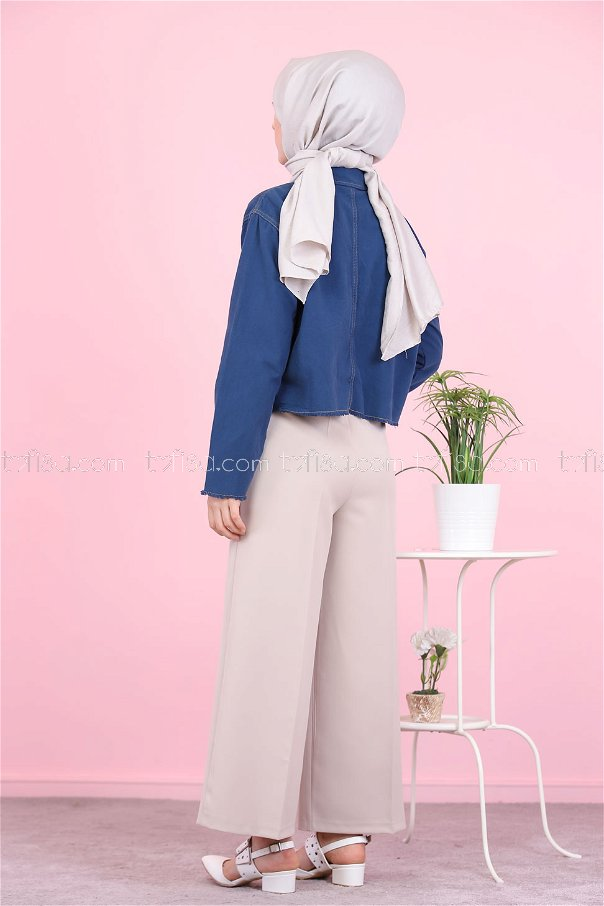 Front Zippered Pants Stone - 8500