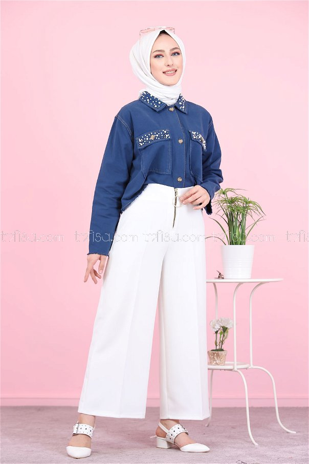Front Zippered Pants White - 8500