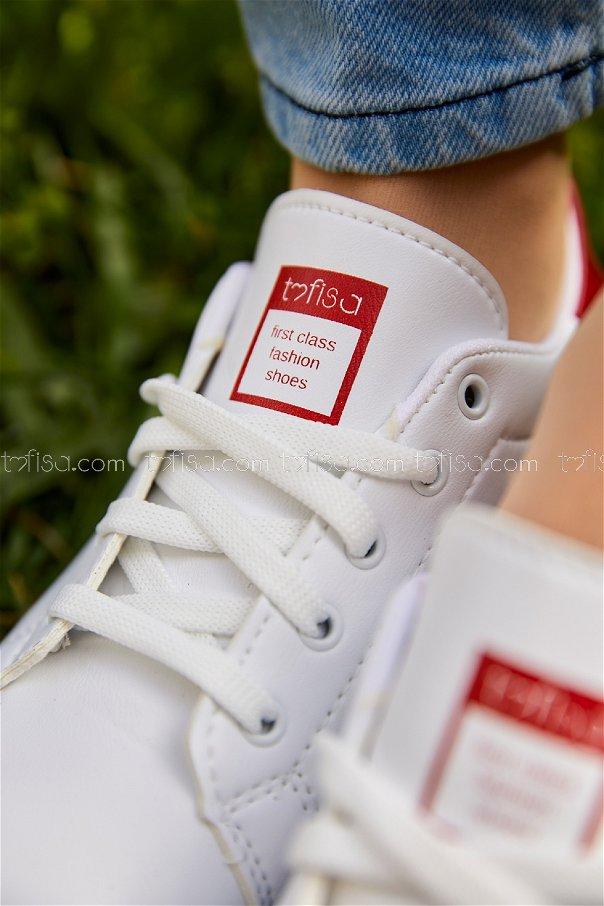 Garnılı Ayakkabı BYZ BEYAZ KIRMIZI - 8711