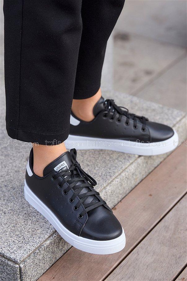 Garnılı Ayakkabı Sıyah Beyaz - 8711