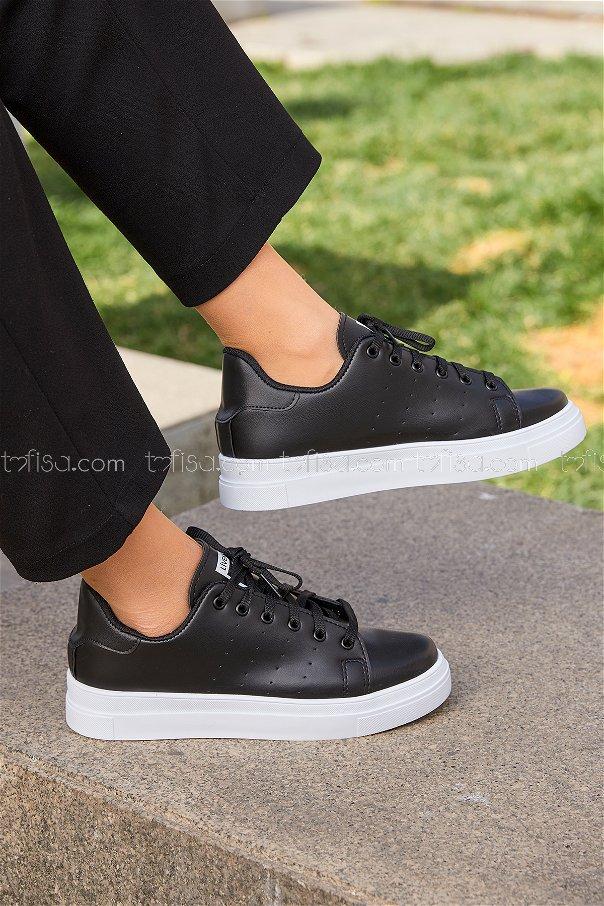 Garnılı Ayakkabı Syh Beyaz Sıyah - 8711