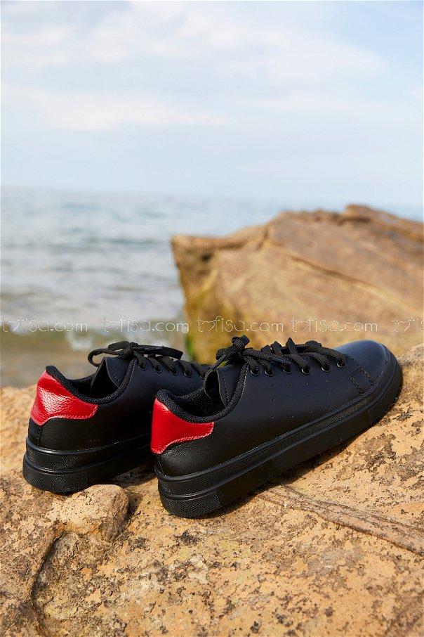 Garnılı Ayakkabı SYH SIYAH KIRMIZI - 8711