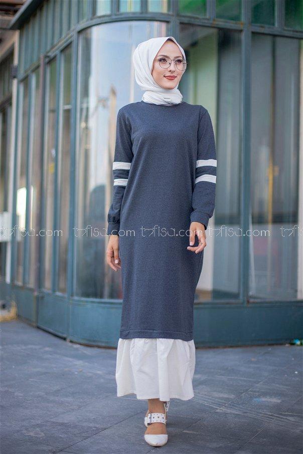 Garnılı Elbise Antrasit - 3080