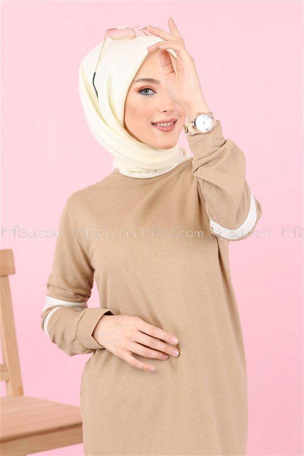 Garnılı Elbise Bej - 3080