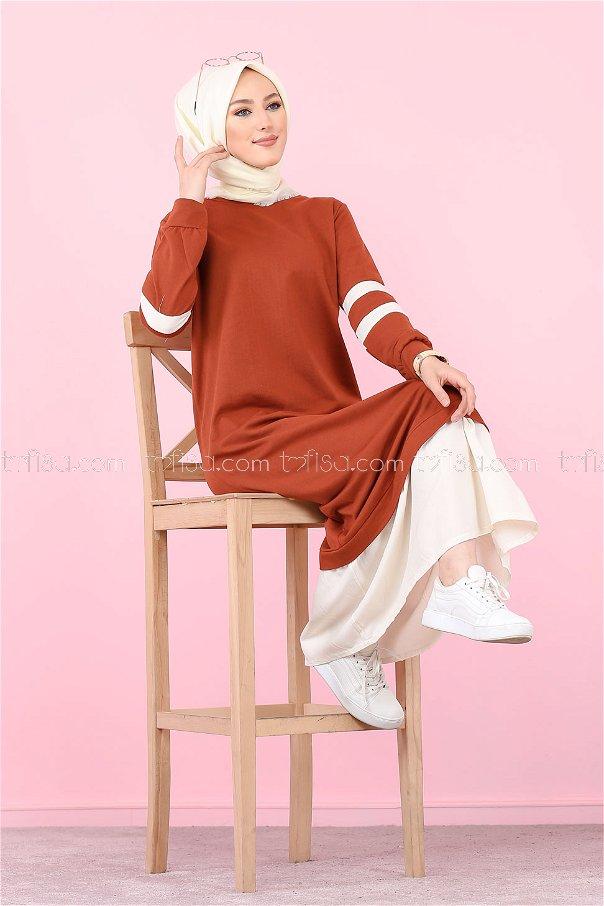 Garnılı Elbise Kiremit - 3080