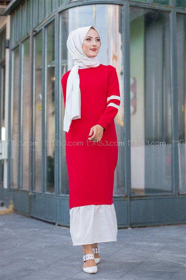 Garnılı Elbise Kırmızı - 3080
