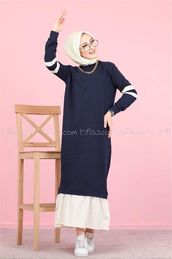 Garnılı Elbise Lacivert - 3080