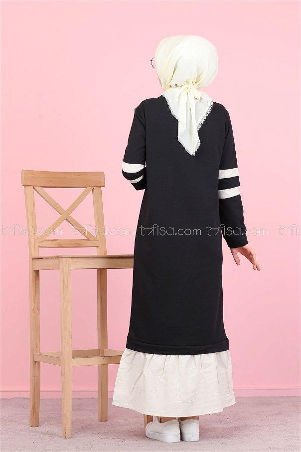 Garnılı Elbise Siyah - 3080