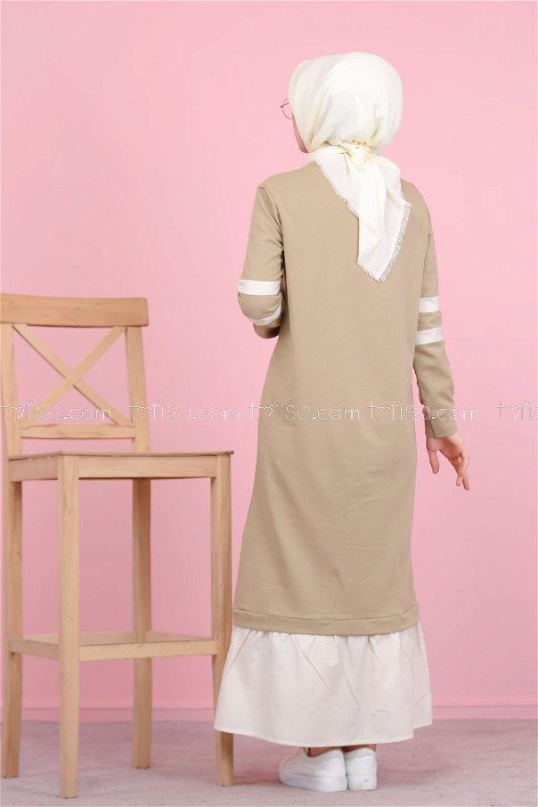 Garnılı Elbise Vizon - 3080