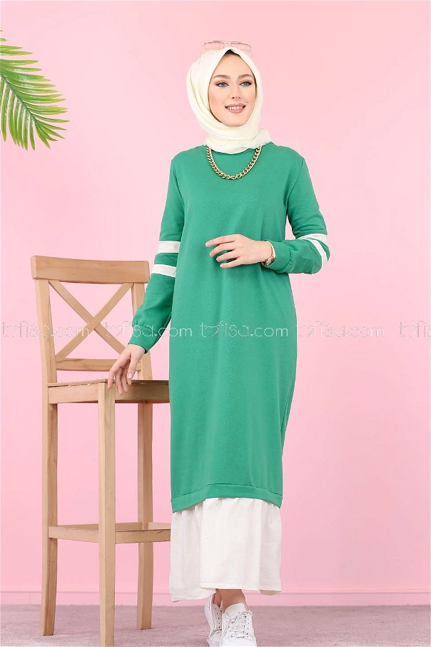 Garnılı Elbise Yeşil - 3080