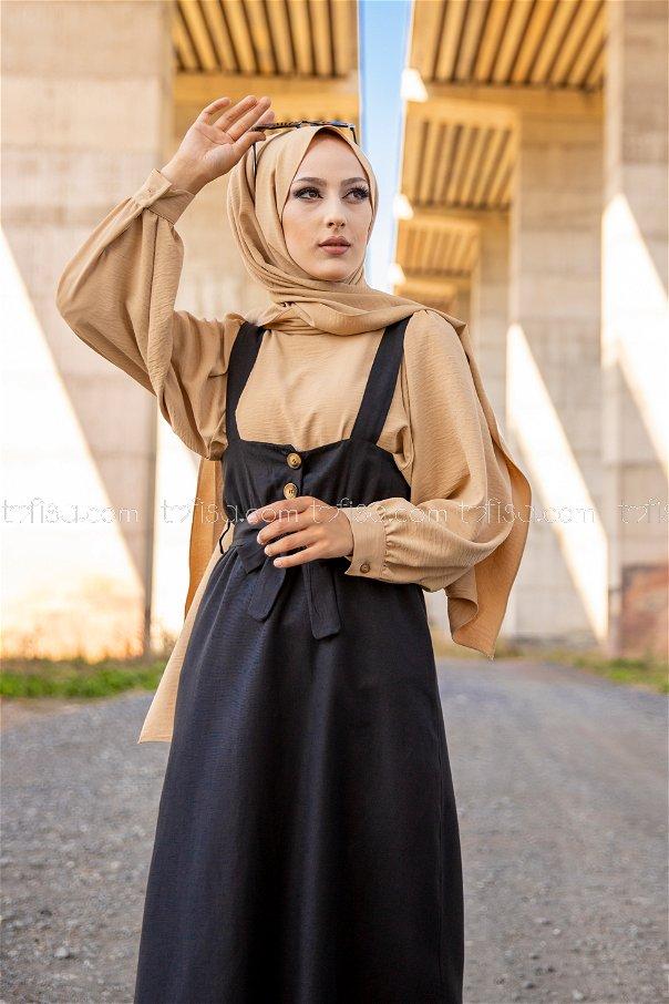 Girdled Jumpsuit Black - 3221