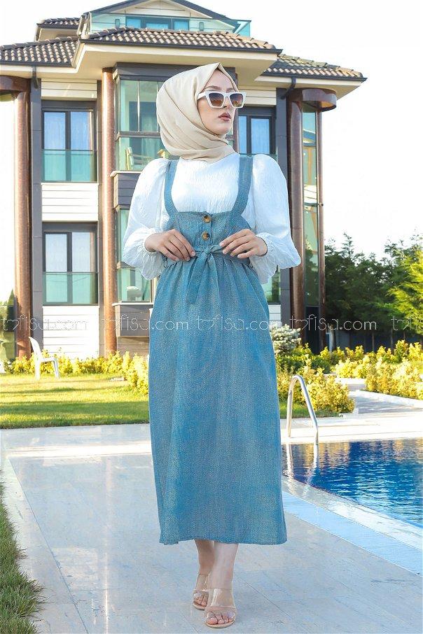 Girdled Jumpsuit Blue - 3221