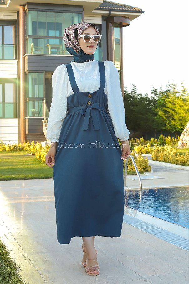 Girdled Jumpsuit Indigo - 3221