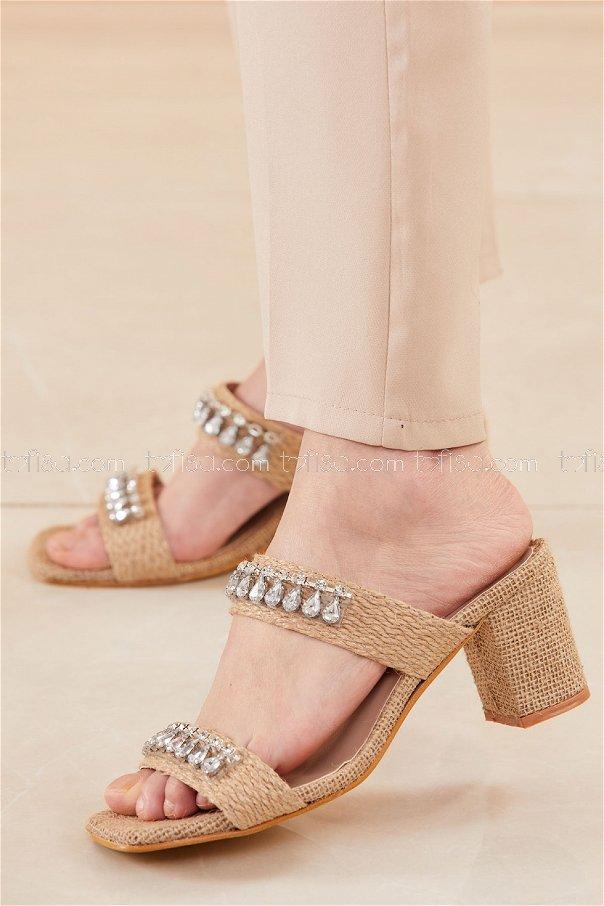 Hasır Topuklu Ayakkabı VIZON - 20665