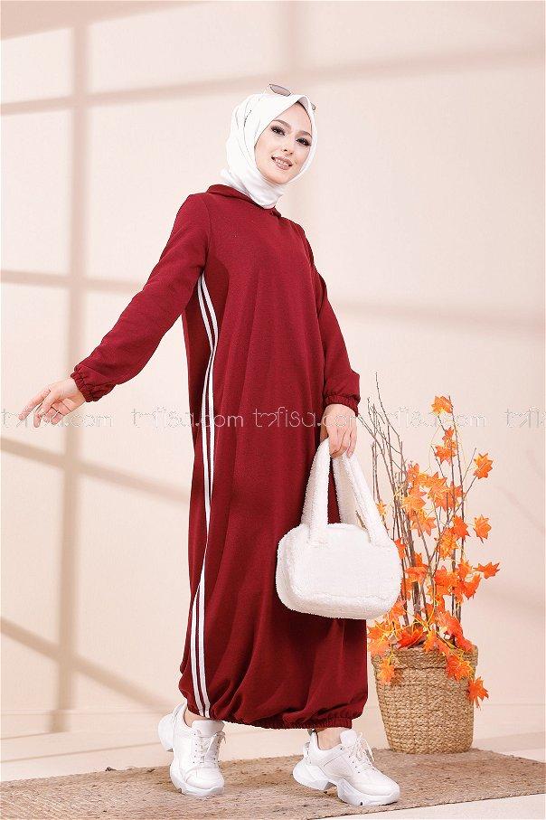 Hooded Dress Dark Claret Red - 5257