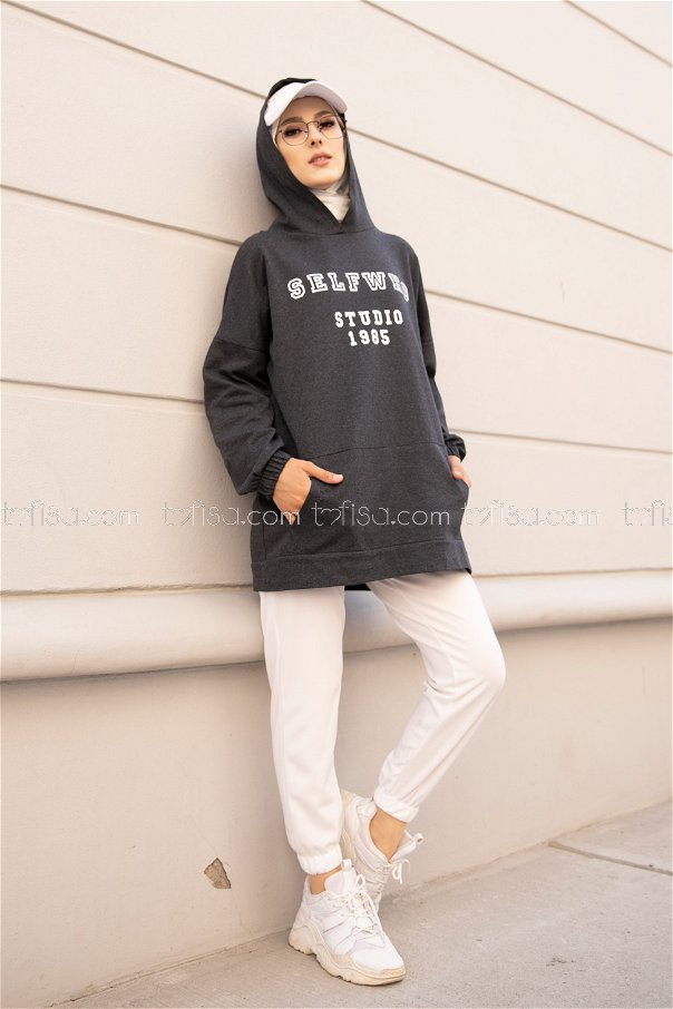 Hooded Sweat Anthracite - 3322