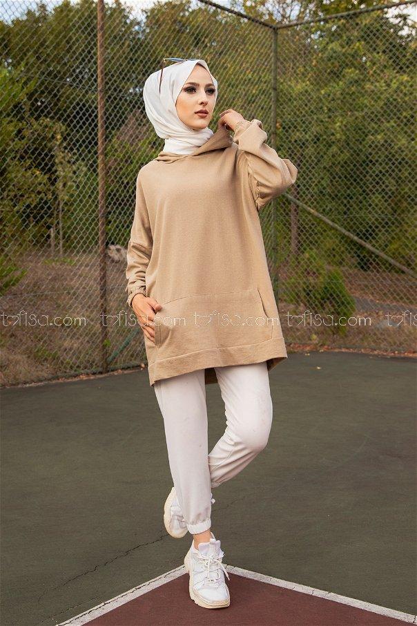 Hooded Sweatshirt Beige - 3258