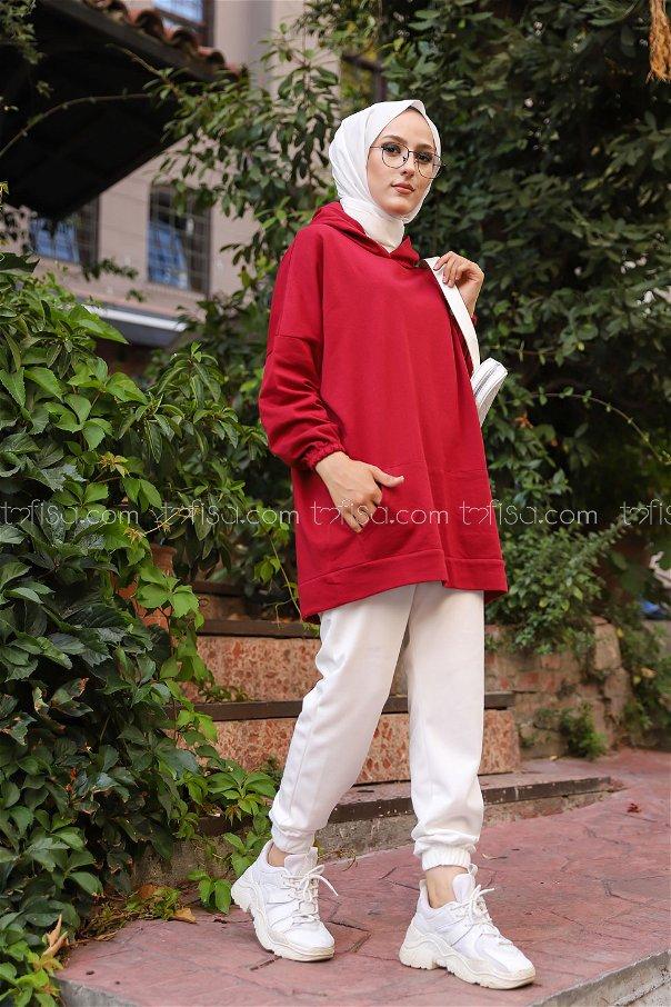 Hooded Sweatshirt Claret Red - 3258