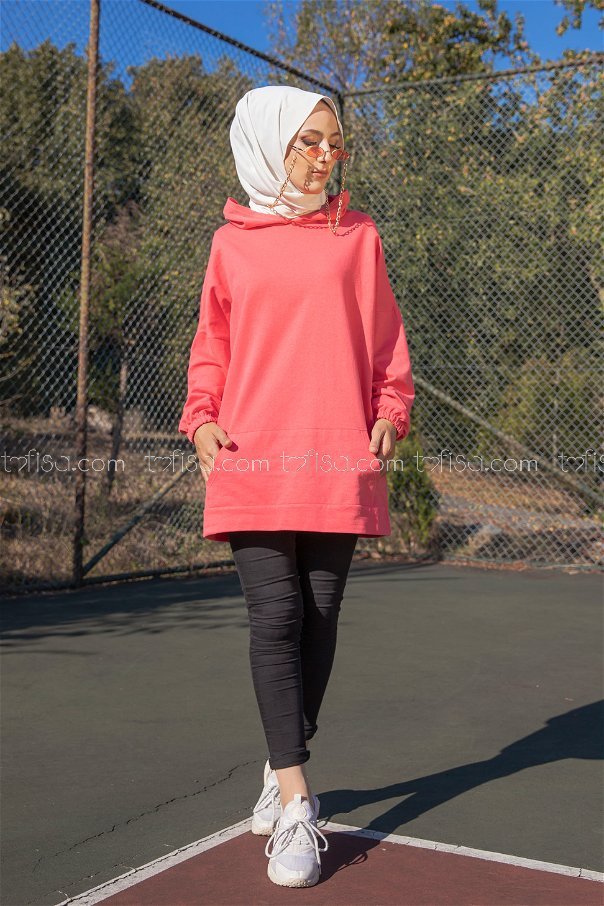 Hooded Sweatshirt Coral - 3258