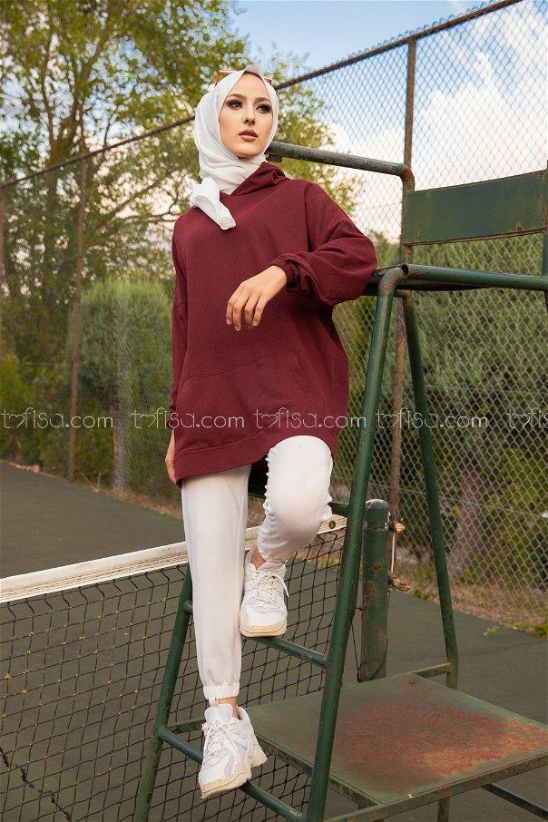 Hooded Sweatshirt Dark Claret Red - 3258
