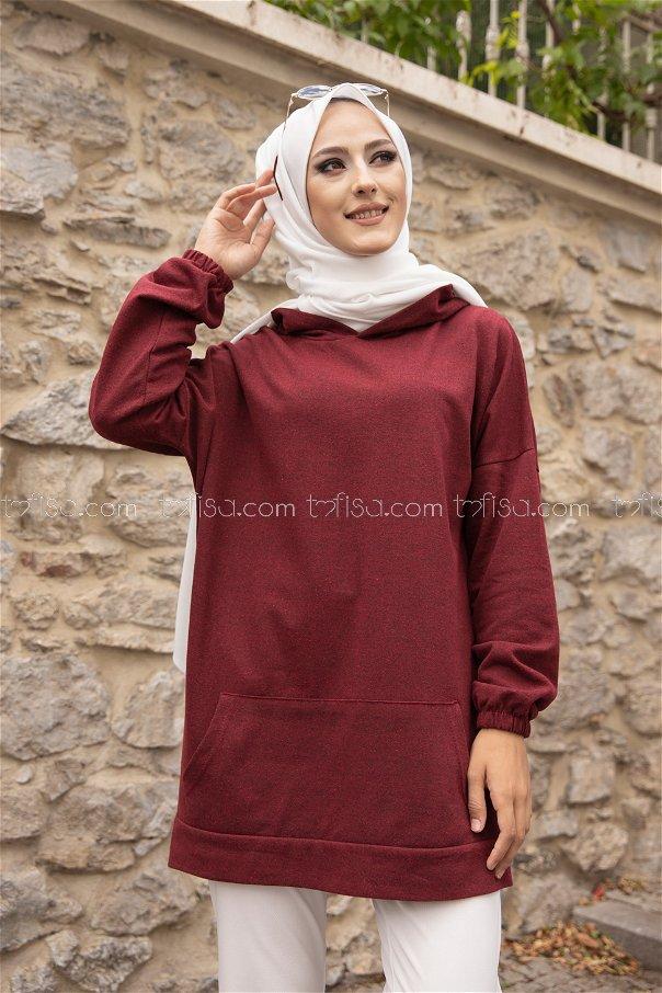 Hooded Sweatshirt Dark Claret Red - 3293