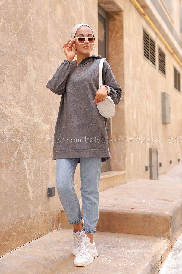 Hooded Sweatshirt Dark Grey - 3258