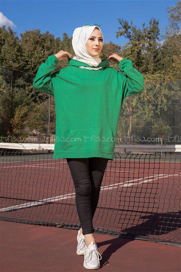 Hooded Sweatshirt Green - 3258