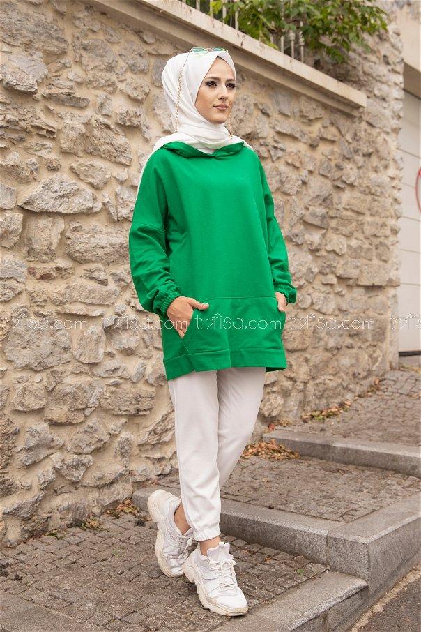 Hooded Sweatshirt Green - 3293