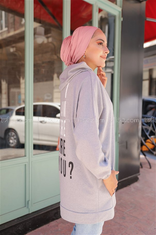 Hooded Sweatshirt Grey - 3258