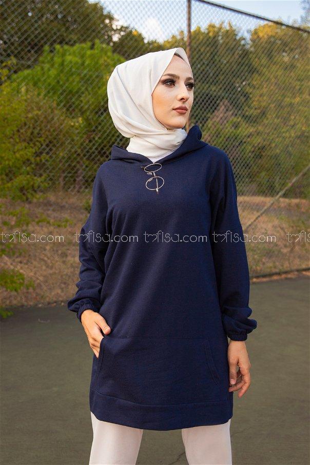 Hooded Sweatshirt Navy Blue - 3258
