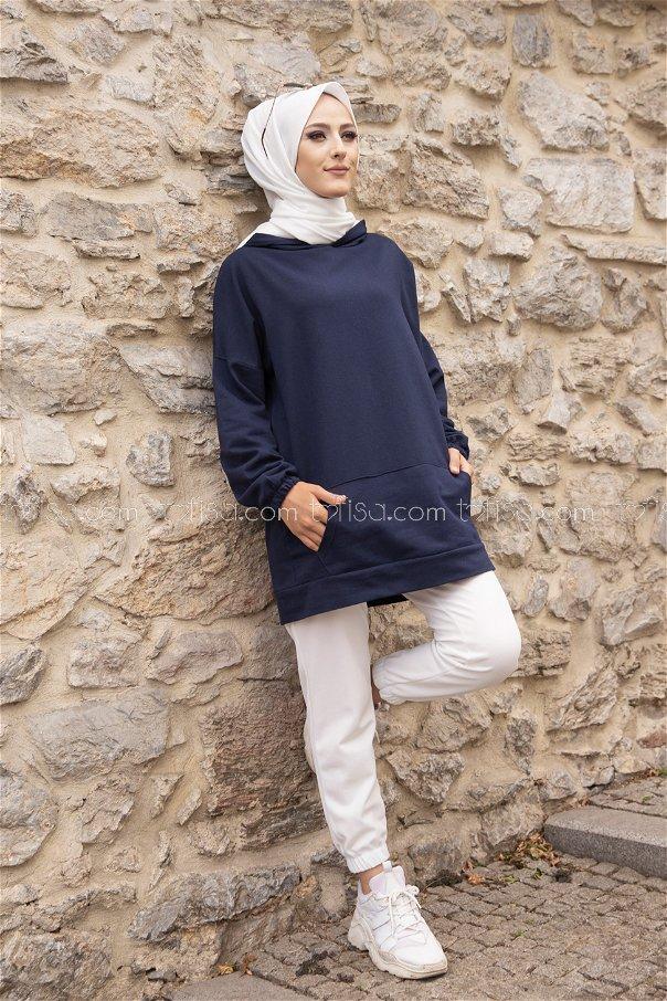Hooded Sweatshirt Navy Blue - 3293