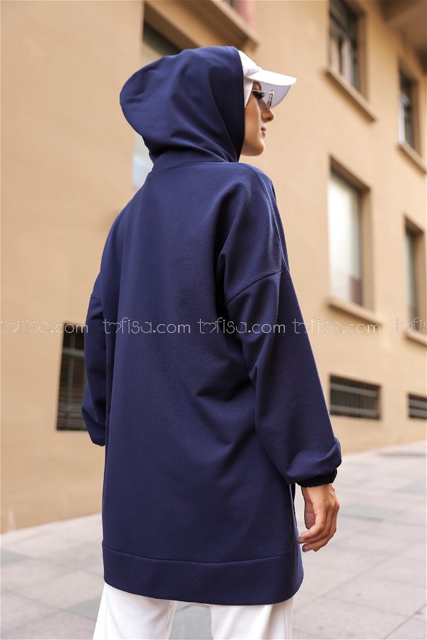 Hooded Sweatshirt Navy Blue - 8617