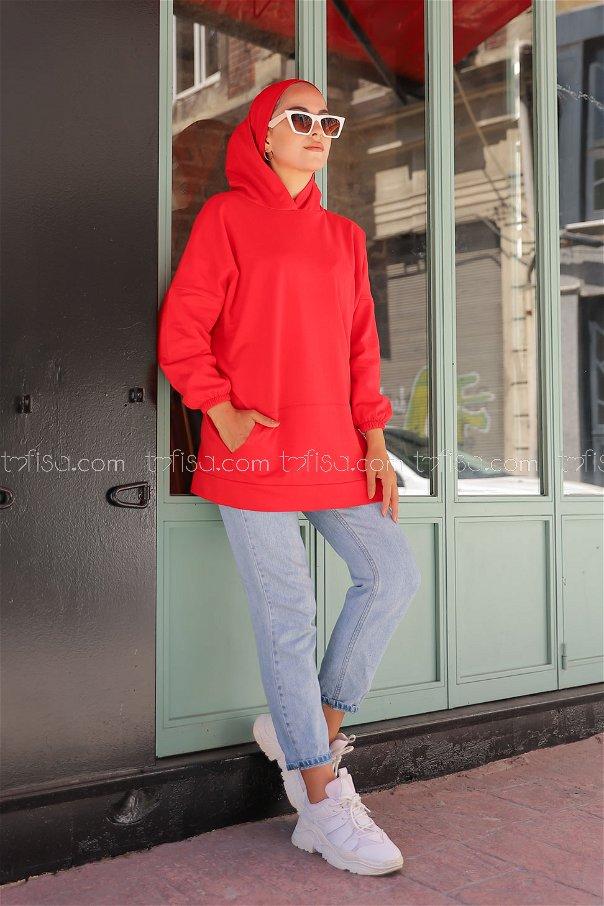 Hooded Sweatshirt Red - 3258