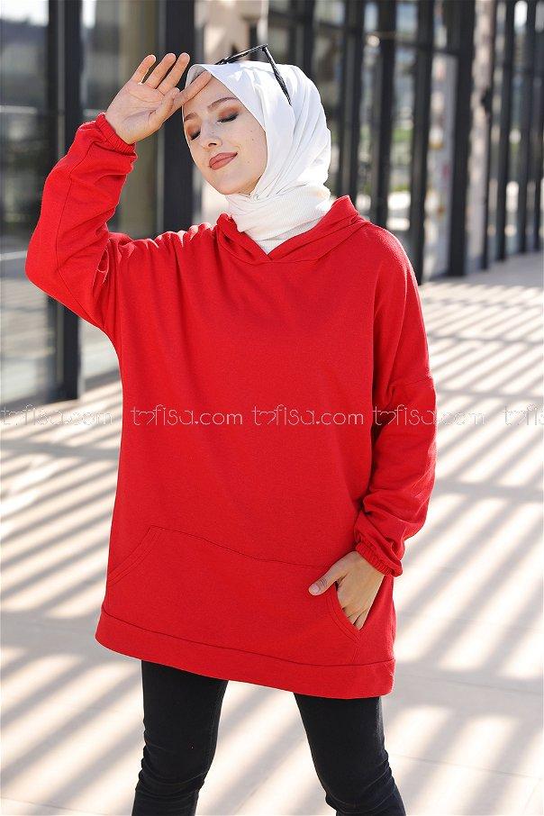 Hooded Sweatshirt Red - 3293