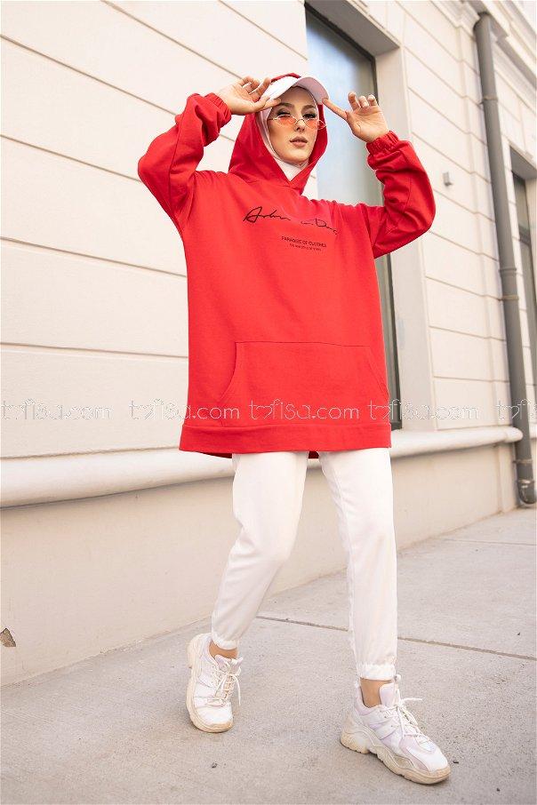 Hooded Sweatshirt Red - 8617