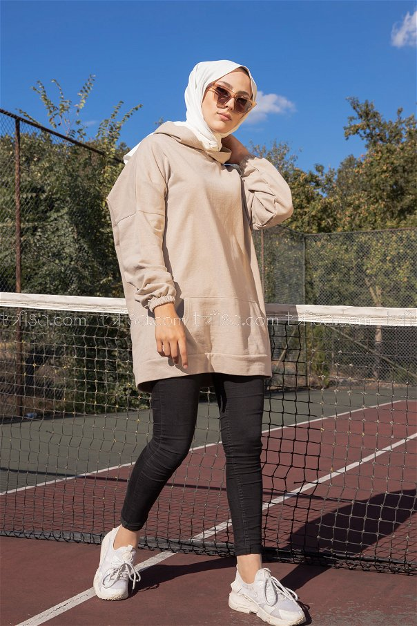 Hooded Sweatshirt Stone - 3258
