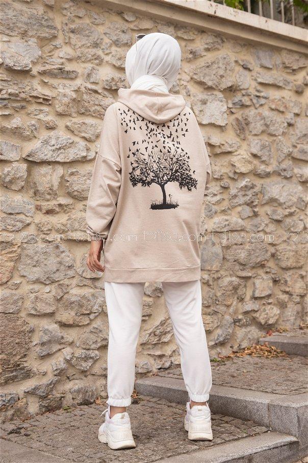 Hooded Sweatshirt Stone - 3293
