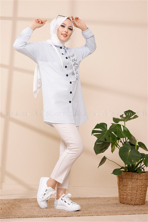 Hooded Tunic Baby Blue - 3279