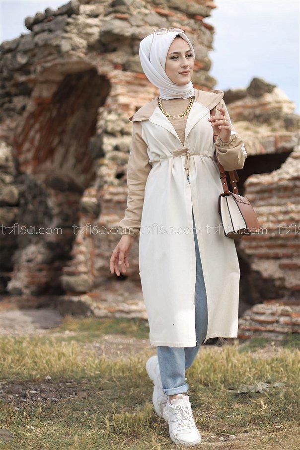 Hooded Tunic Beige - 3059