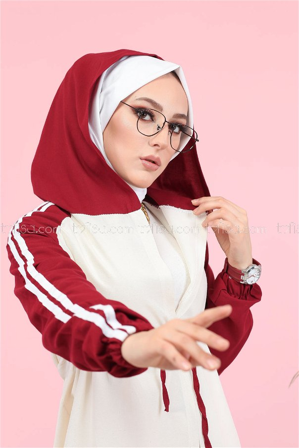 Hooded Tunic Claret Red - 3059