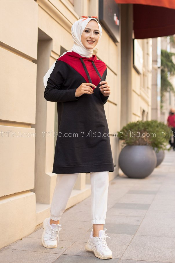 Hooded Tunic Claret Red - 3235