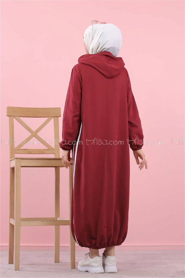 Hooded Tunic Claret Red - 5257