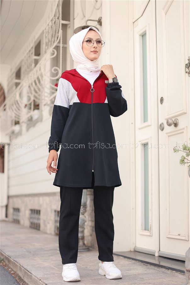 Hooded Tunic Pant Claret Red - 4129