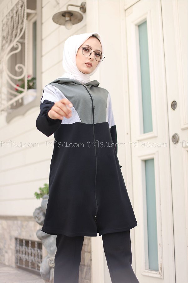 Hooded Tunic Pant Khaki - 4129