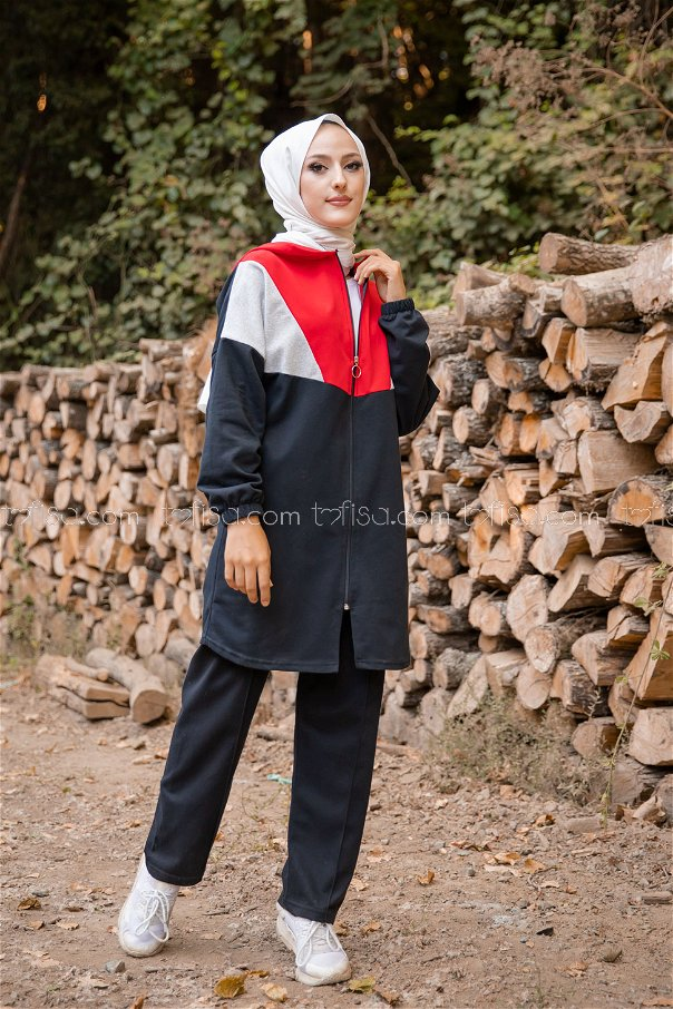 Hooded Tunic Pant Red - 4129