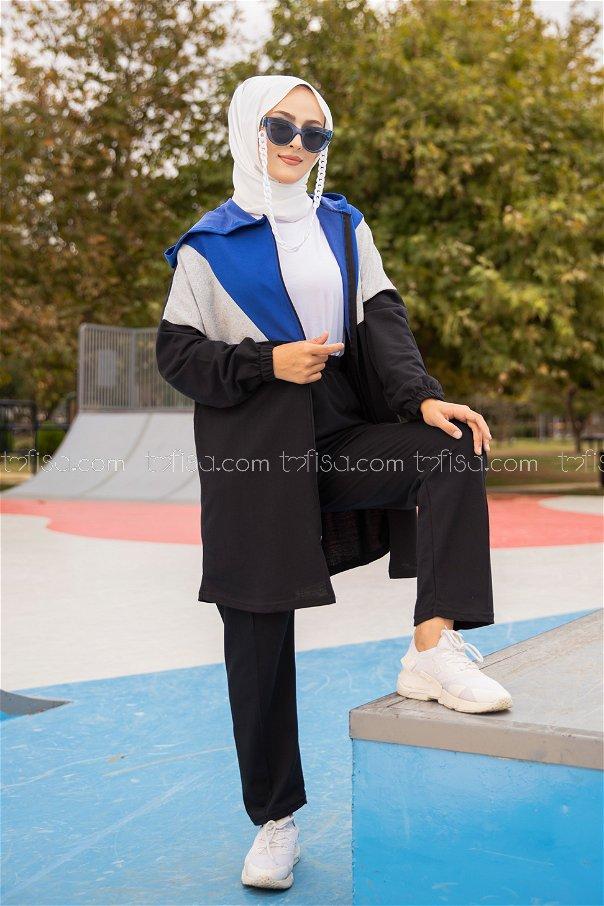 Hooded Tunic Pant Sax - 4129