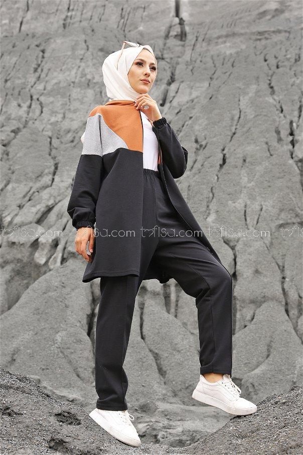 Hooded Tunic Pant Tan - 4129
