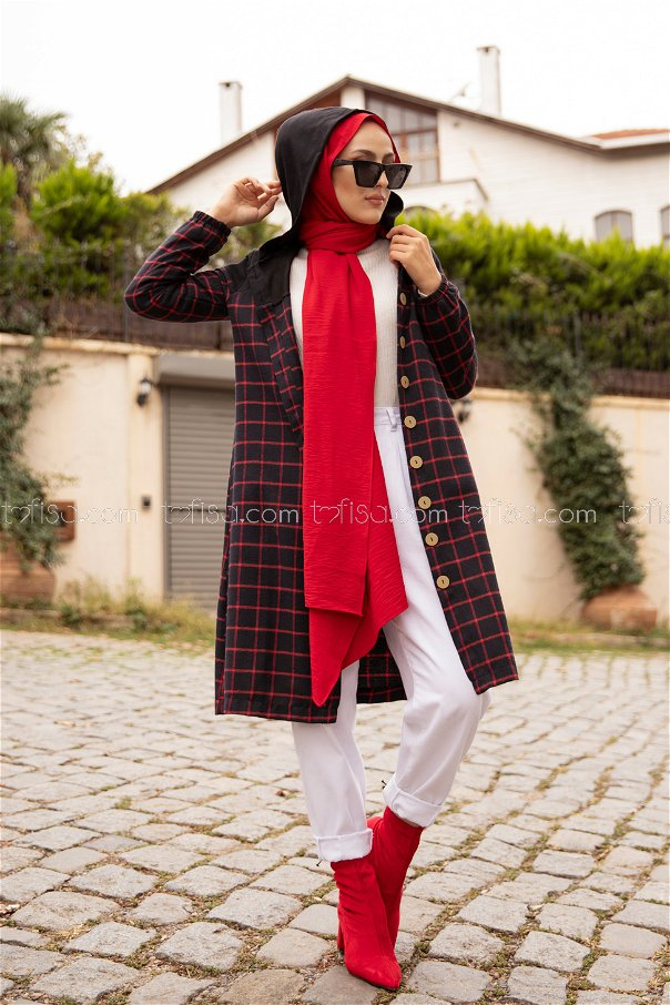 Hooded Tunic Red - 8609