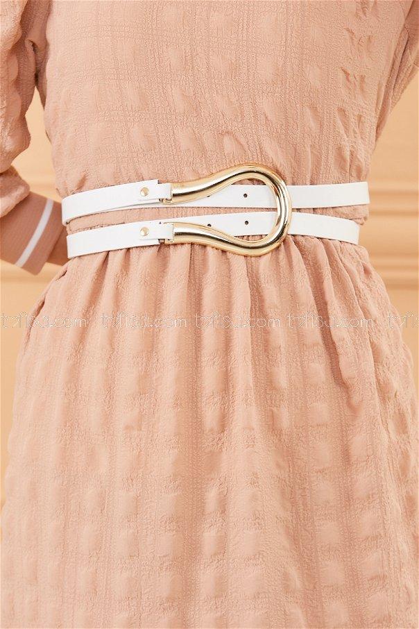 Horseshoe Buckled Belt WHITE - 20383